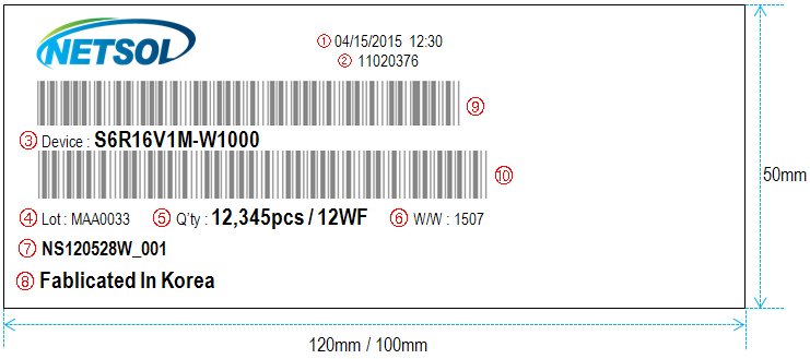 WF Packing Bar Code Label